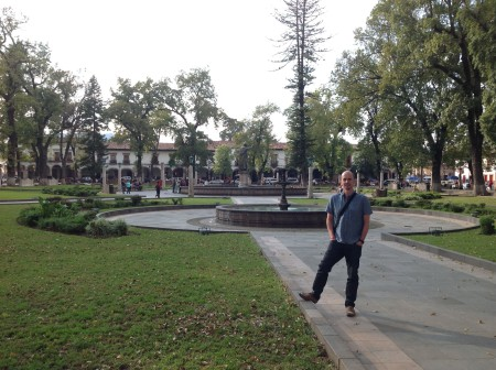 Paul at the Plaza Grande in Pátzcuaro